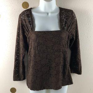 Susan Lawrence Sz M Women's Brown Lace Shirt